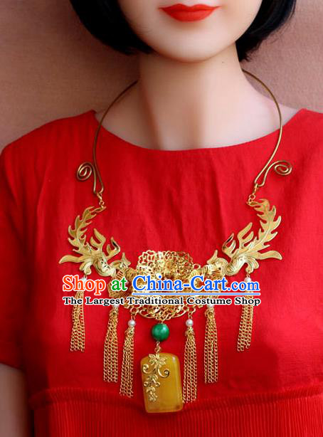 Traditional Chinese Ancient Palace Hanfu Golden Necklace Handmade Wedding Jewelry Accessories for Women