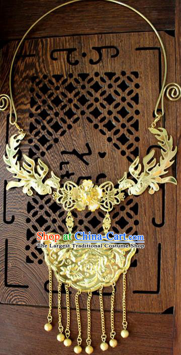 Traditional Chinese Ancient Palace Hanfu Golden Phoenix Necklace Handmade Wedding Jewelry Accessories for Women