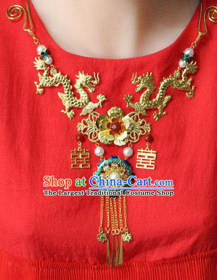 Traditional Chinese Ancient Palace Hanfu Golden Dragons Necklace Handmade Wedding Jewelry Accessories for Women