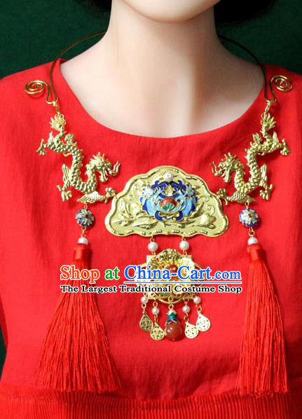 Traditional Chinese Ancient Palace Hanfu Golden Dragons Cloisonne Necklace Handmade Wedding Jewelry Accessories for Women