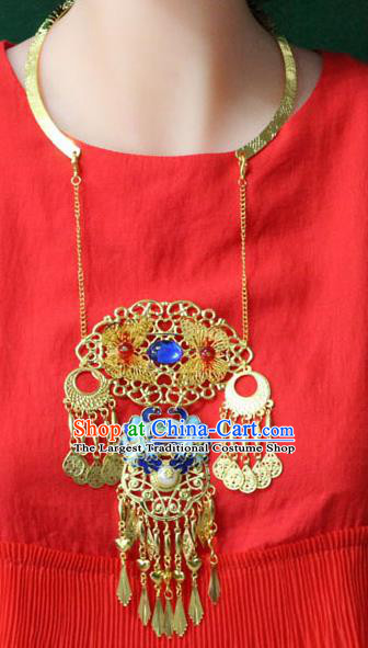 Traditional Chinese Ancient Palace Hanfu Golden Cloisonne Necklace Handmade Wedding Jewelry Accessories for Women
