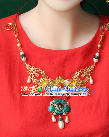 Traditional Chinese Ancient Palace Hanfu Golden Cloisonne Lotus Necklace Handmade Wedding Jewelry Accessories for Women