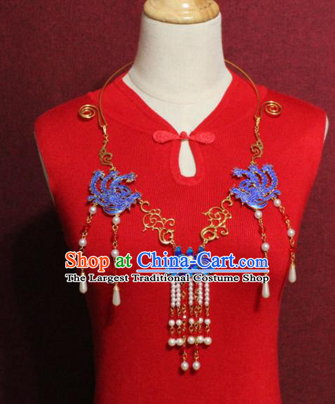 Traditional Chinese Ancient Palace Hanfu Golden Cloisonne Phoenix Necklace Handmade Wedding Jewelry Accessories for Women