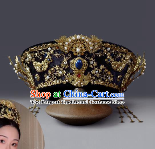 Traditional Chinese Ancient Qing Dynasty Hat Queen Phoenix Coronet Hairpins Handmade Wedding Hair Accessories for Women
