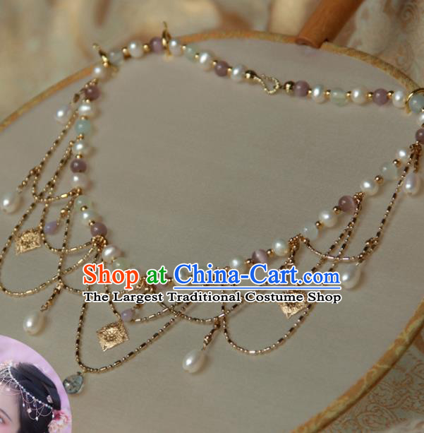 Traditional Chinese Ancient Palace Pearls Tassel Necklace Handmade Hanfu Wedding Jewelry Accessories for Women