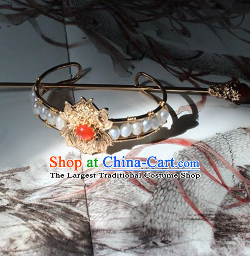 Traditional Chinese Ancient Princess Pearls Golden Hair Crown Hairpins Handmade Hanfu Hair Accessories for Women