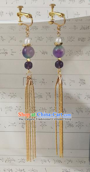 Handmade Chinese Ancient Princess Tassel Earrings Traditional Hanfu Jewelry Accessories for Women
