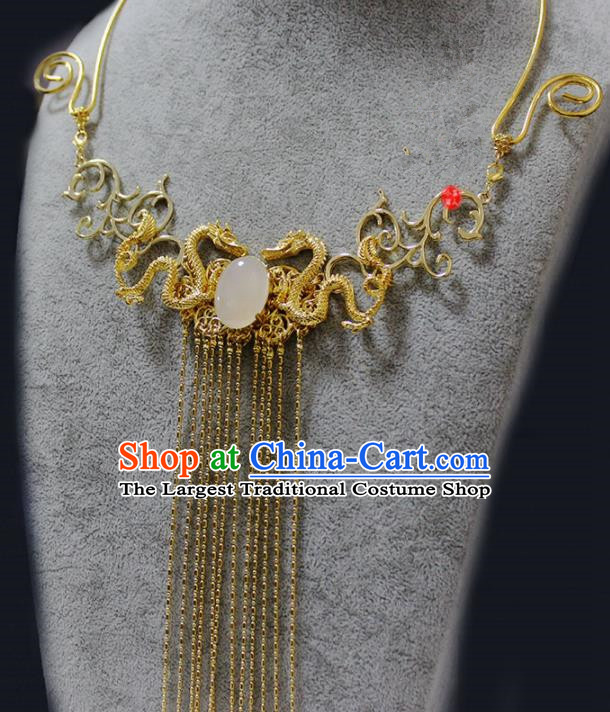Traditional Chinese Ancient Palace Golden Dragon Tassel Necklace Handmade Hanfu Wedding Jewelry Accessories for Women