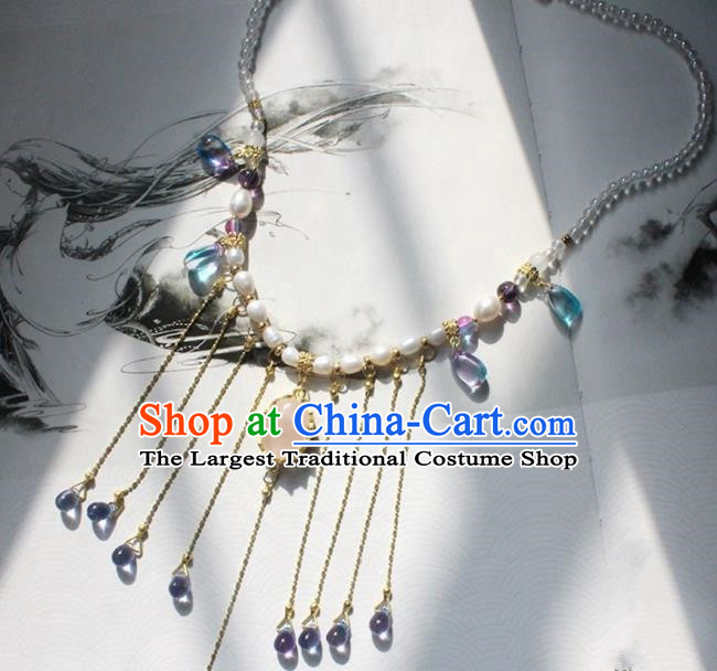 Handmade Chinese Ancient Palace Pearls Tassel Necklace Traditional Hanfu Wedding Jewelry Accessories for Women
