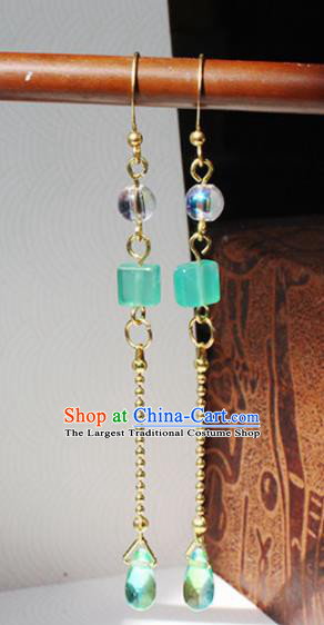 Handmade Chinese Ancient Princess Long Tassel Earrings Traditional Hanfu Jewelry Accessories for Women
