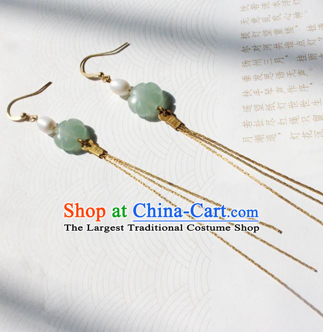 Handmade Chinese Ancient Princess Pearl Jade Earrings Traditional Hanfu Jewelry Accessories for Women