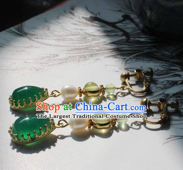 Handmade Chinese Ancient Princess Pearl Green Crystal Earrings Traditional Hanfu Jewelry Accessories for Women