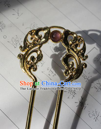 Traditional Chinese Ancient Tang Dynasty Princess Golden Hair Clip Hairpins Handmade Hanfu Hair Accessories for Women