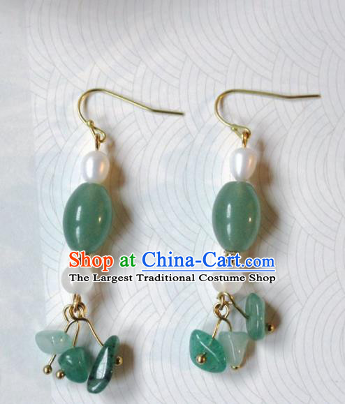Handmade Chinese Ancient Princess Jade Earrings Traditional Hanfu Jewelry Accessories for Women