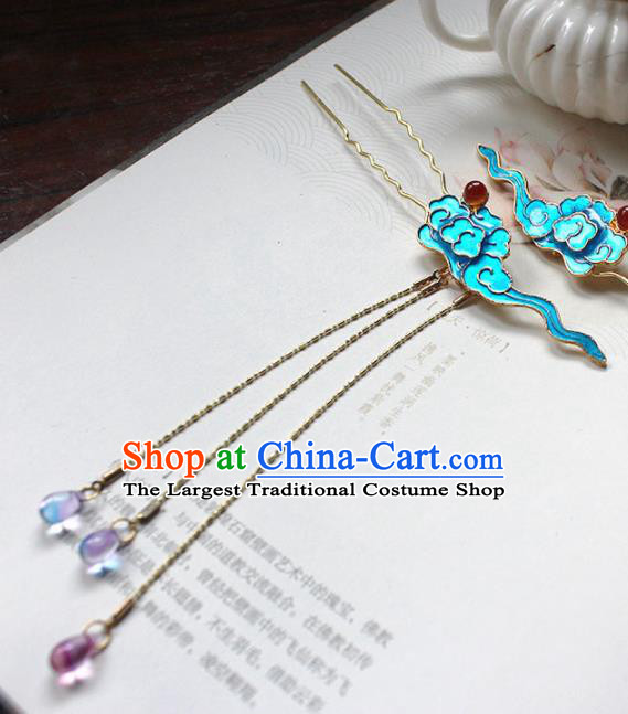 Traditional Chinese Ancient Hanfu Blueing Cloud Hair Clip Princess Hairpins Handmade Hair Accessories for Women