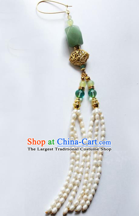 Traditional Chinese Ancient Palace Jade Brooch Handmade Hanfu Breastpin Pearls Tassel Pendant for Women