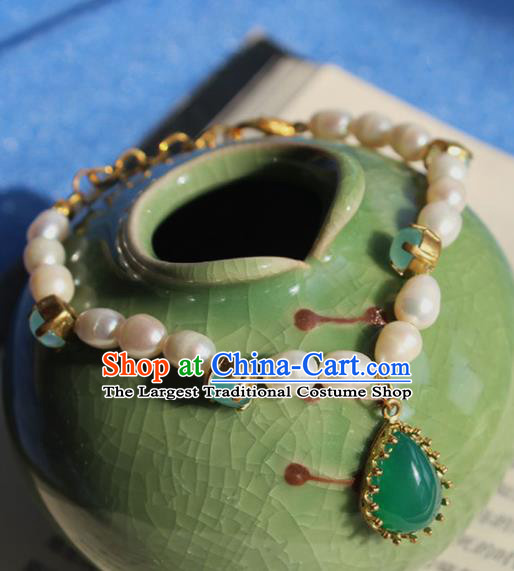 Handmade Chinese Ancient Palace Pearls Bracelet Traditional Hanfu Wedding Jewelry Accessories for Women