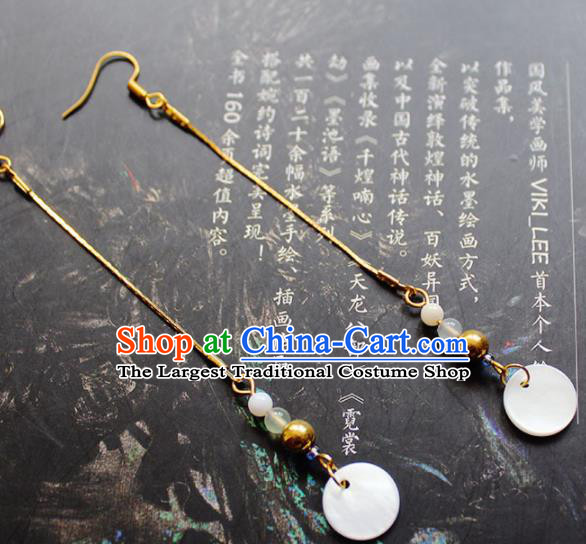 Handmade Chinese Ancient Princess Shell Tassel Earrings Traditional Hanfu Jewelry Accessories for Women