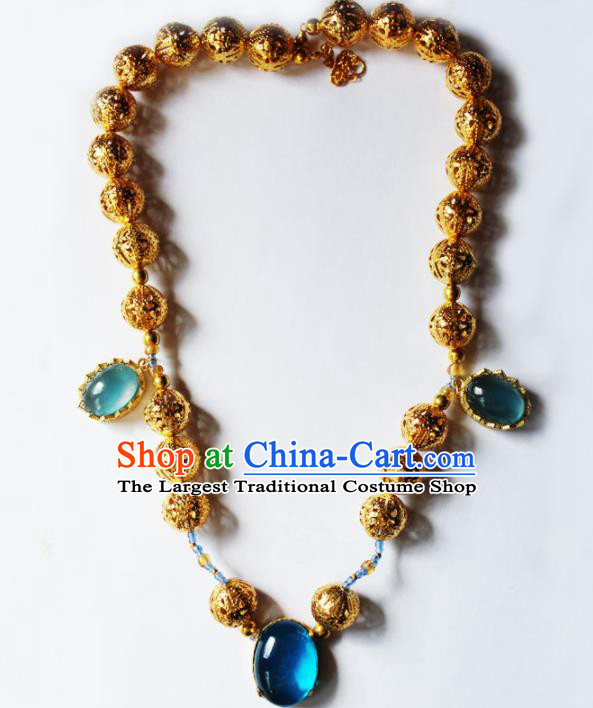 Handmade Chinese Ancient Palace Golden Necklace Traditional Hanfu Wedding Jewelry Accessories for Women