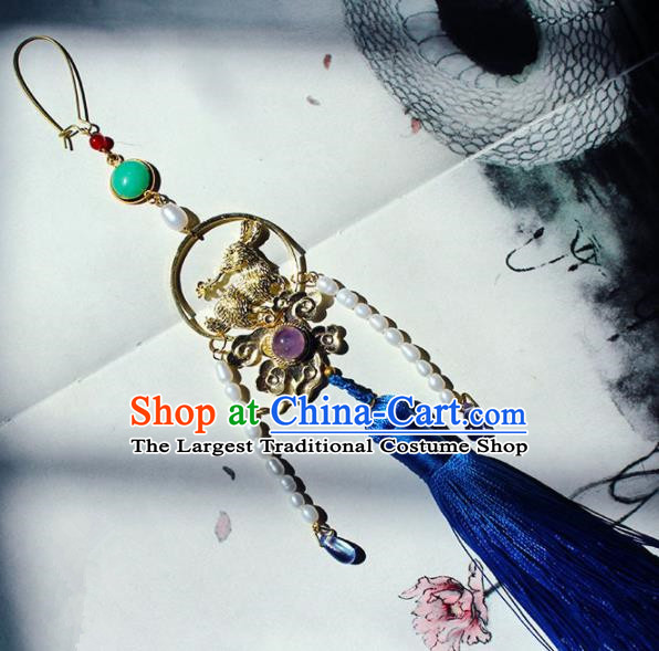 Traditional Chinese Ancient Palace Brooch Handmade Hanfu Breastpin Pearls Tassel Pendant for Women