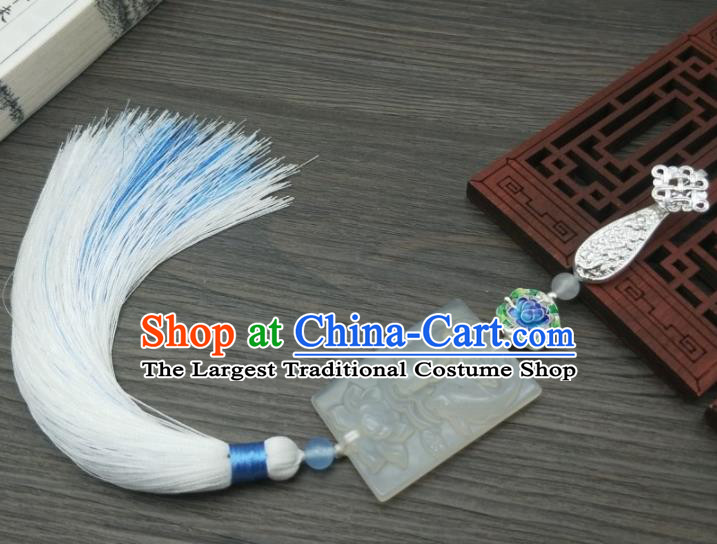Traditional Chinese Ancient Palace Carving Jade Brooch Handmade Hanfu Tassel Breastpin Pendant for Women