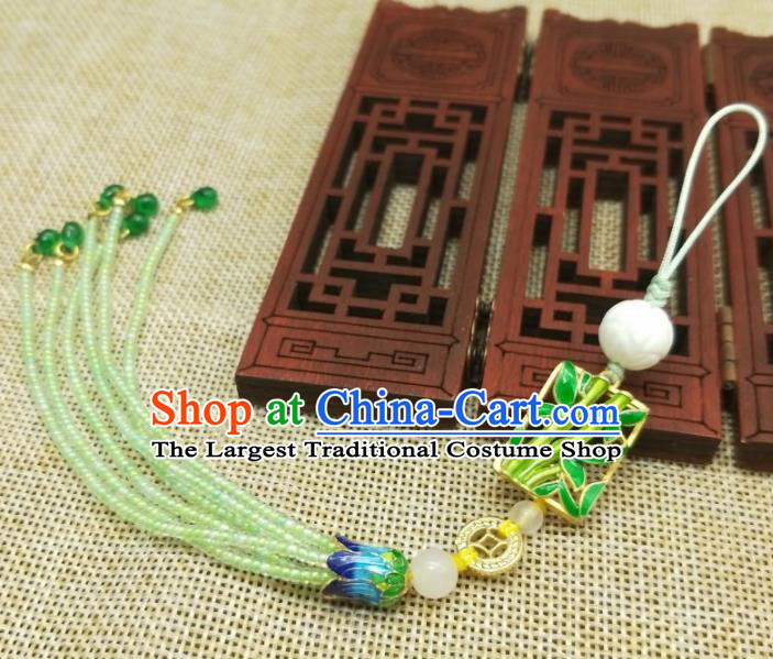 Traditional Chinese Ancient Palace Cloisonne Bamboo Brooch Handmade Hanfu Tassel Breastpin Pendant for Women