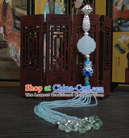 Traditional Chinese Ancient Palace Jade Brooch Handmade Hanfu Tassel Breastpin Pendant for Women