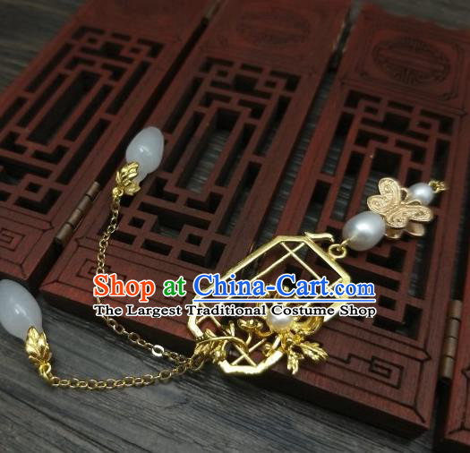 Traditional Chinese Ancient Palace Golden Chrysanthemum Brooch Handmade Hanfu Tassel Breastpin Pendant for Women