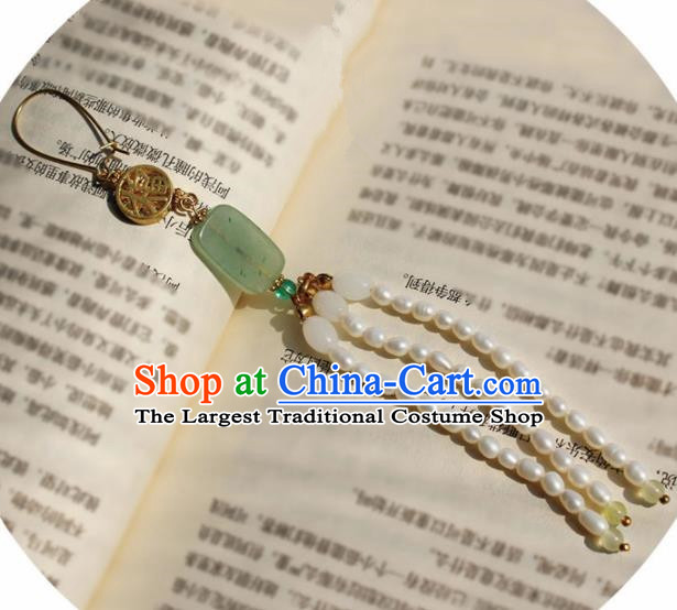 Traditional Chinese Ancient Palace Brooch Handmade Hanfu Breastpin Pearls Tassel Jade Pendant for Women