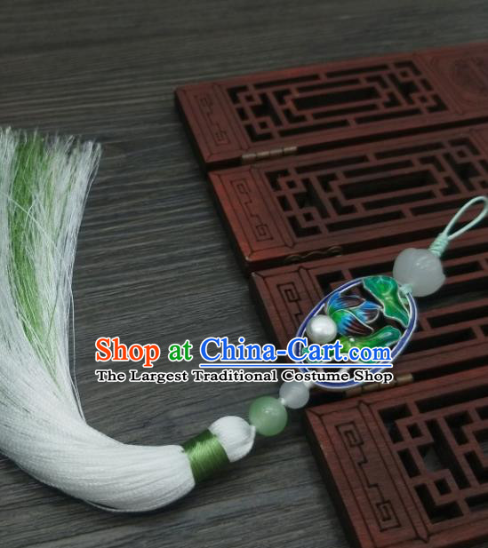 Traditional Chinese Ancient Palace Cloisonne Lotus Leaf Brooch Handmade Hanfu Tassel Breastpin Pendant for Women