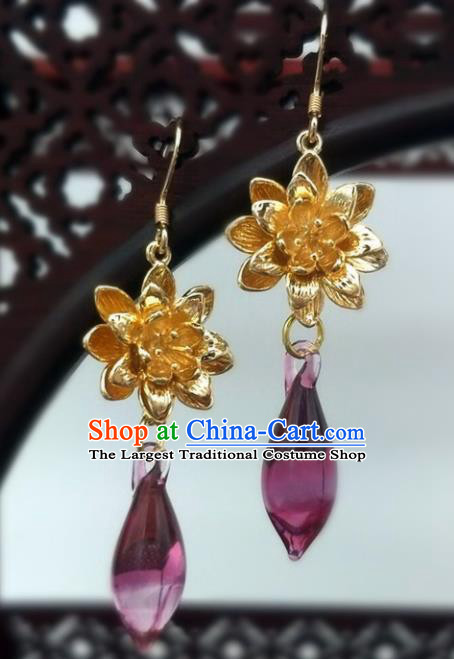 Traditional Chinese Ancient Wedding Hanfu Purple Crystal Earrings Handmade Jewelry Accessories for Women
