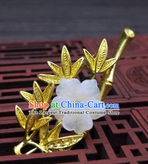 Traditional Chinese Ancient Palace Golden Bamboo Brooch Handmade Hanfu Breastpin Pendant for Women