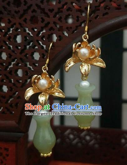 Traditional Chinese Ancient Wedding Hanfu Jade Vase Earrings Handmade Jewelry Accessories for Women