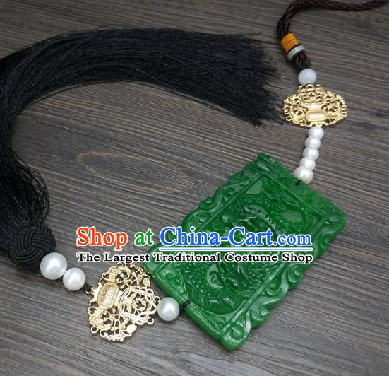Traditional Chinese Ancient Prince Carving Dragon Jade Pendant Handmade Hanfu Waist Accessories for Men