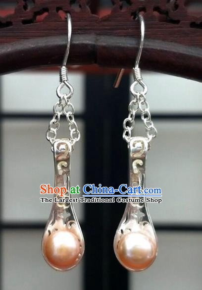 Traditional Chinese Ancient Hanfu Pink Pearl Tassel Earrings Handmade Wedding Jewelry Accessories for Women
