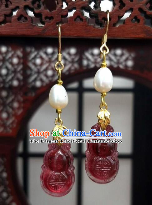 Traditional Chinese Ancient Hanfu Calabash Tassel Earrings Handmade Wedding Jewelry Accessories for Women