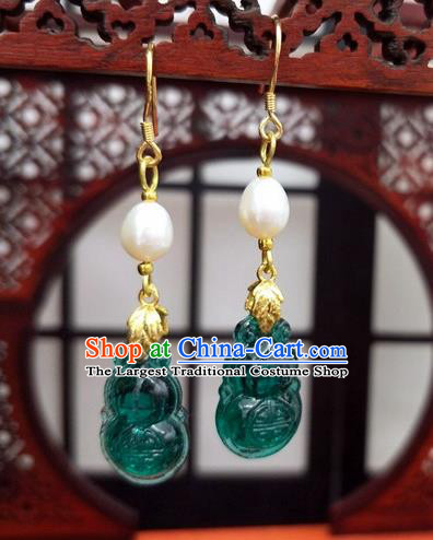 Traditional Chinese Ancient Hanfu Green Calabash Tassel Earrings Handmade Wedding Jewelry Accessories for Women