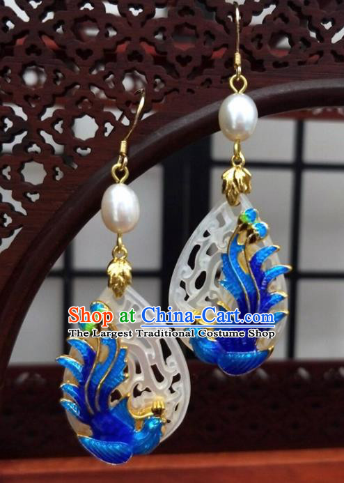 Traditional Chinese Ancient Hanfu Cloisonne Phoenix Jade Earrings Handmade Wedding Jewelry Accessories for Women
