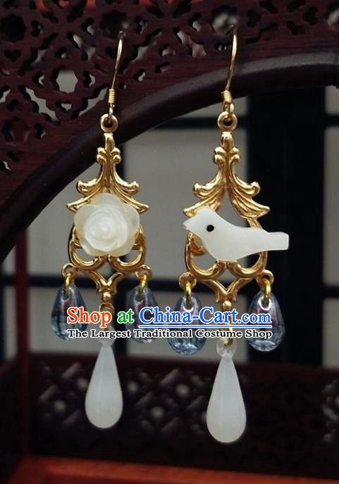 Traditional Chinese Ancient Hanfu Jade Bird Earrings Handmade Wedding Jewelry Accessories for Women