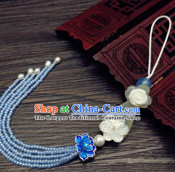 Traditional Chinese Ancient Jade Lute Brooch Handmade Hanfu Palace Breastpin Tassel Pendant for Women