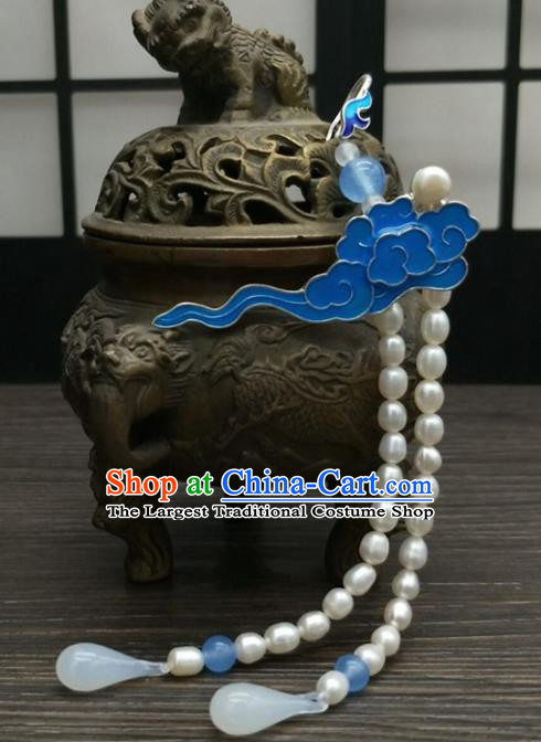 Traditional Chinese Ancient Cloisonne Cloud Brooch Handmade Hanfu Palace Breastpin Tassel Pendant for Women