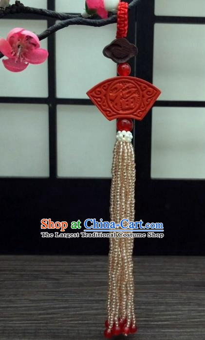 Traditional Chinese Ancient Cinnabar Brooch Handmade Hanfu Palace Breastpin Tassel Pendant for Women