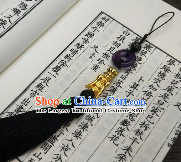 Traditional Chinese Ancient Prince Purple Jade Pendant Handmade Hanfu Waist Accessories for Men