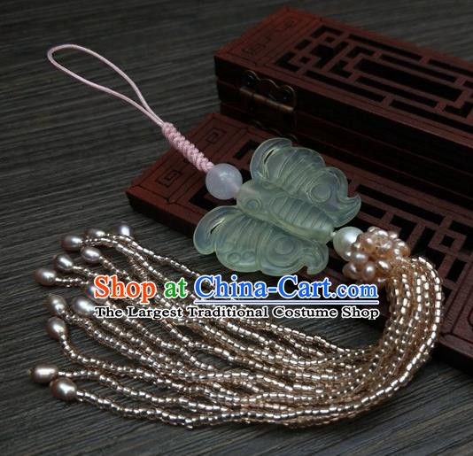 Traditional Chinese Ancient Jade Butterfly Brooch Handmade Hanfu Palace Breastpin Tassel Pendant for Women