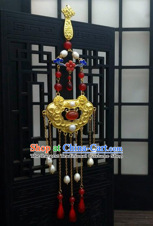 Traditional Chinese Ancient Agate Golden Brooch Handmade Hanfu Palace Breastpin Tassel Pendant for Women