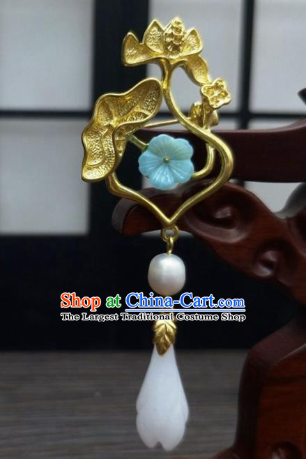 Traditional Chinese Ancient Golden Lotus Brooch Handmade Hanfu Palace Breastpin Tassel Pendant for Women