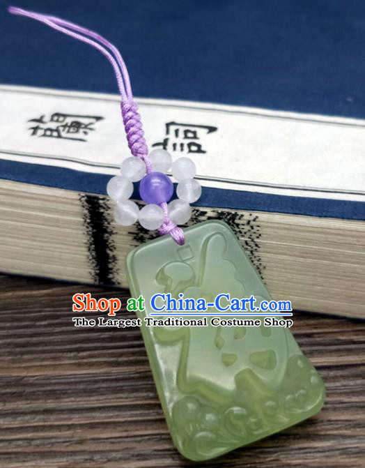 Traditional Chinese Ancient Jade Brooch Handmade Hanfu Palace Breastpin Tassel Pendant for Women