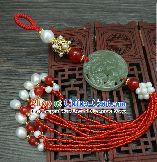Traditional Chinese Ancient Wedding Jade Brooch Handmade Hanfu Palace Breastpin Tassel Pendant for Women