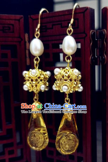 Traditional Chinese Ancient Hanfu Palace Golden Earrings Handmade Wedding Jewelry Accessories for Women