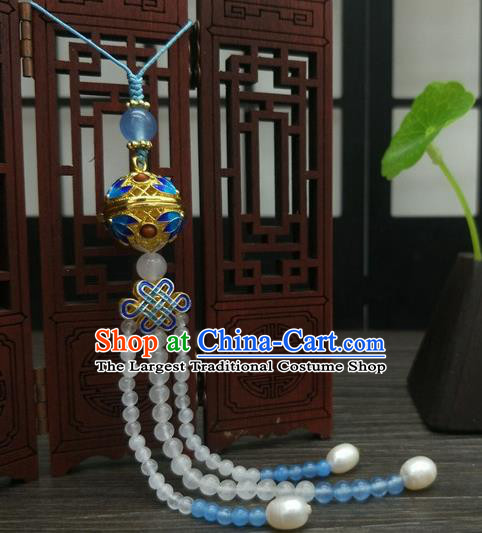 Traditional Chinese Ancient Cloisonne Sachet Brooch Handmade Hanfu Palace Breastpin Tassel Pendant for Women